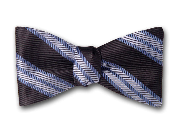 Black and Blue Striped Silk Bow Tie. Classic Bowtie.