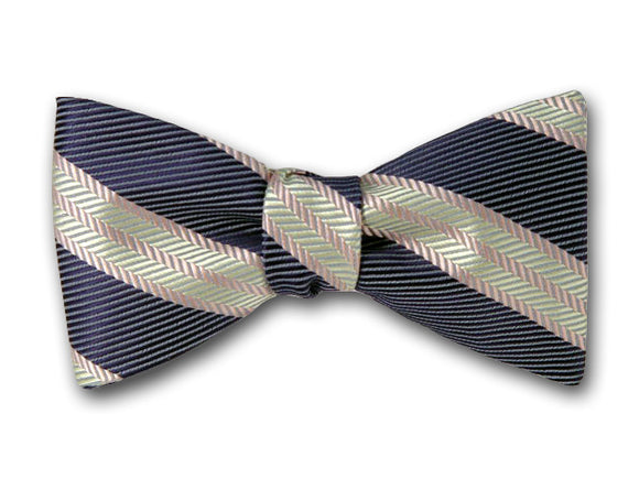 Navy and Cream Striped Silk Bow Tie. Made by Kotty.