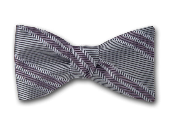 Pastel Green and Grey Striped Bow Tie. Woven Silk Bowtie.