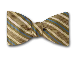 Striped Silk Bow Tie. Green, Cream and Blue Stripes.