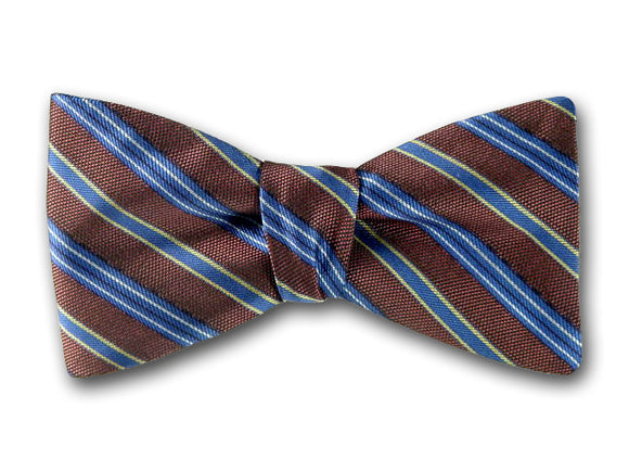 Brown and Blue Striped Bow Tie. Pre-tied and Self Tied Bow Ties.