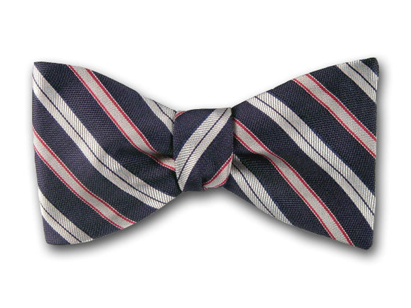 Grey and red stripes on navy silk bow tie for men.
