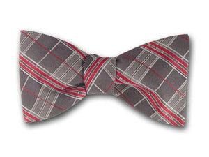Grey Silk Bow Tie. Red, Grey and White Stripes Bowties.