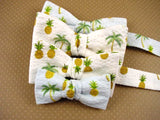 "Boys Bow Tie ""Palm Tree & Pineapple""- Bow Ties for Infant, Boys and Youth - Hand Made in USA"