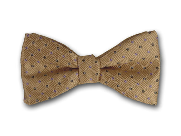 Beige Silk Bow Tie for Men.