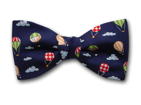 Baloons on navy. Silk bow tie for baby, boy and youth.