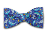 Dolphins bow tie for boy. Kid's bow ties in blue.