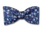 Blue Flowers Silk Bow Tie for Men.