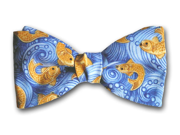 Goldfish Bow tie. Blue Ocean Waves. Sea World Bow Tie.