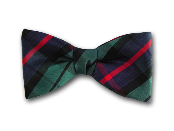Green, navy and red plaid silk bow tie for men.