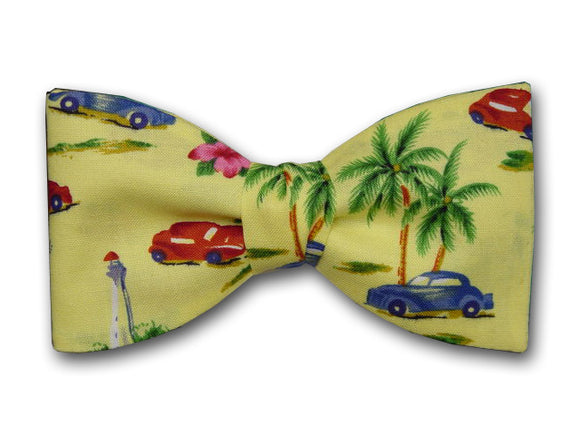 Hawaiian Style Yellow Bow Tie. Retro Cars in Blue and Red. Palm Trees on yellow.