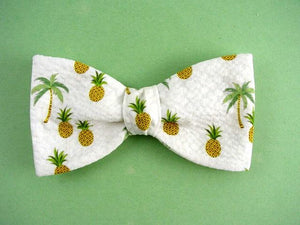Pineapple and Palm Tree Bow Ties on White/Black/Blue. Tropical Ties.