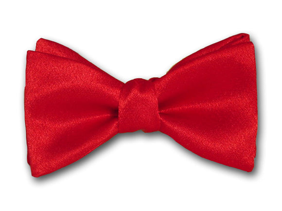Solid red silk bow tie.