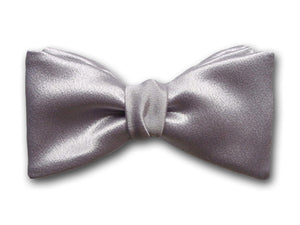 Solid Grey Silk Bow Tie. Men's Silver Formal Bow Tie.