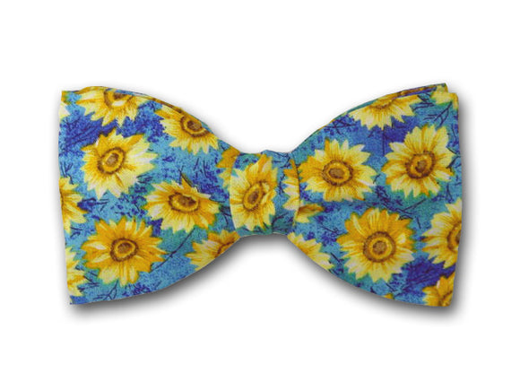 Sunflower kids bow tie. Yellow and blue bow tie for boys.