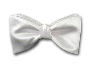 Formal solid white silk bow tie for men. Tuxedo bow tie.