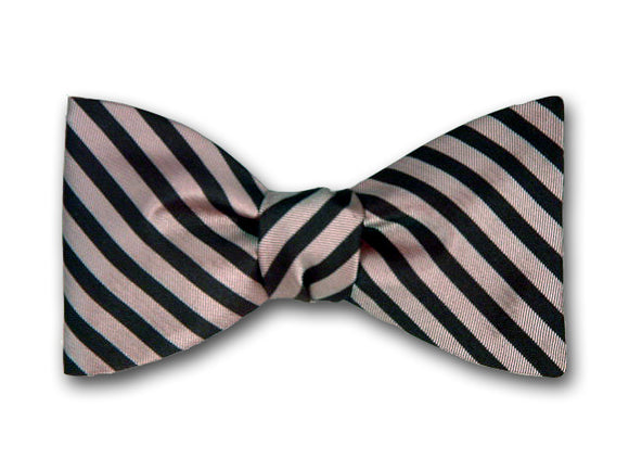 Striped Silk Bow Tie. Burgundy and Pink Stripes.
