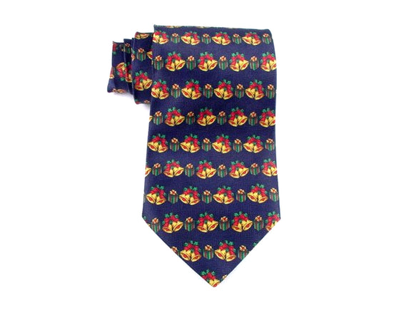 Christmas Necktie with Bells on Navy.