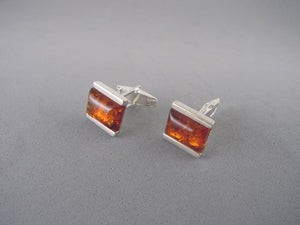 Baltic Amber Cufflinks for Men. Sterling Silver Cufflinks.