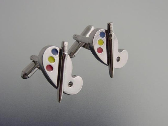 Painter's palette silver tone cufflinks.