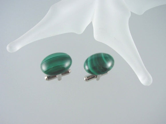 Malachite Cuff Links - Natural Gemstone Men's Accessories - Hand Made in USA