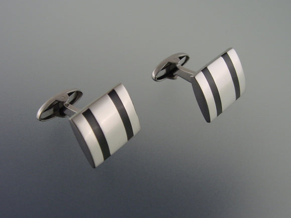 Stainless Steel Cufflinks - Silver and Black Cufflinks - Elegant Men's Accessory
