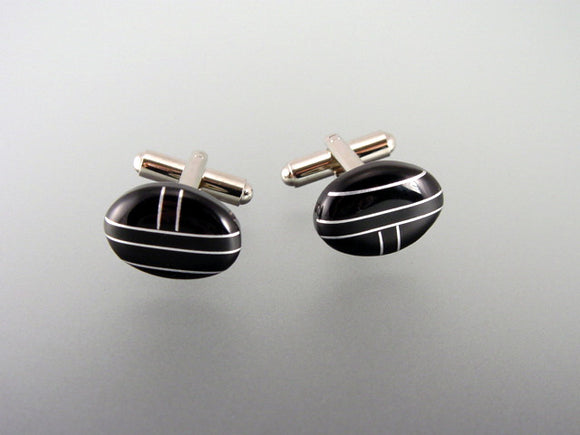 Black Onyx cufflinks. Men's accessory.
