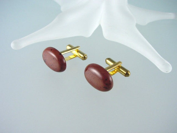 Mahogany Obsidian Cufflinks - Natural Gemstone Cuff Links - Hand Made in USA