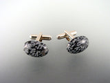 Natural Obsidian Cufflinks - Gemstone Men's Accessories - Hand made in USA