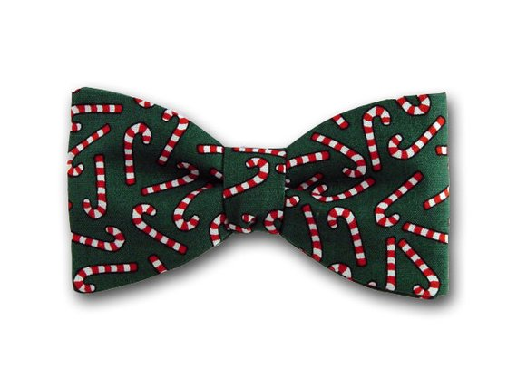 Cristmas Bow Tie. Candy Cane on Green. Holiday Bow Tie.