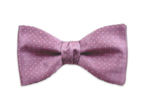 Lavender silk bow tie. Grey small dots on lavender.