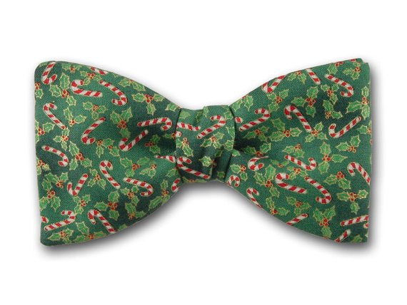 Christmas Bow Tie. Candy Cane on Green. Holiday Bowties.