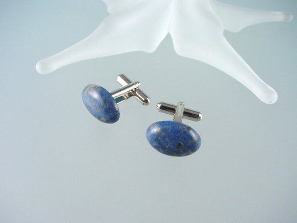 Denim Lapis Lazuli Cufflinks - Natural Blue Gemstone Cuffliks - Hand Made in USA