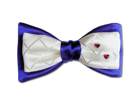 Royal blue romantic bow tie with Swarovski hearts.