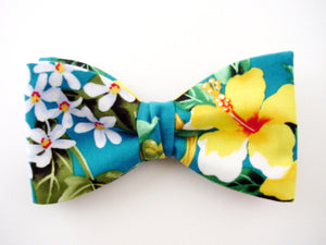 Yellow Hibiscus on Teal Collor. Hawaiian Flowers Bow Tie.