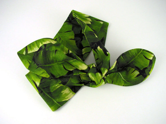 Banana Leaf Headband. Green, black and cream headband.