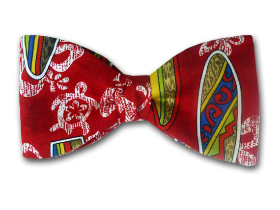 Surf Bow Tie. Red Bow Tie. Turtle and Flowers.