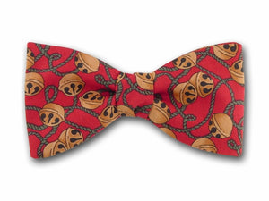 Jingle Bells on Red. Christmas Bow Tie.