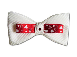 White bow tie with hearts decorative details. Men's silk bow tie.