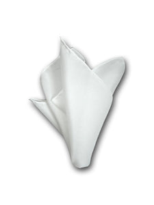 White Pure Silk Pocket Square with Hand-Rolled Edges. Classic Men's Accessory.