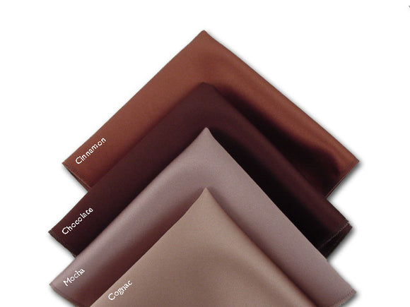 Solid sinnamon, chocolate, mocha, cognac pocket squares. Accessory for men.