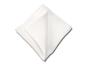 White Pocket Square for Men. Double-sided or Pre-fitted pocket square. Made by Kotty in USA.