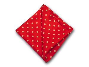 White dots on red pocket squares. Pure silk pocket square.