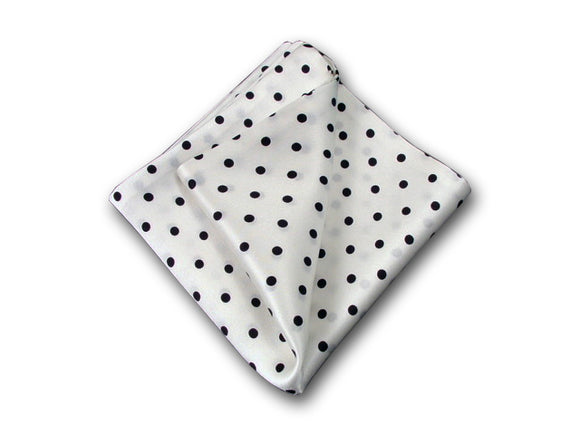 Black dots on white pure silk pocket square. Men's accessory.