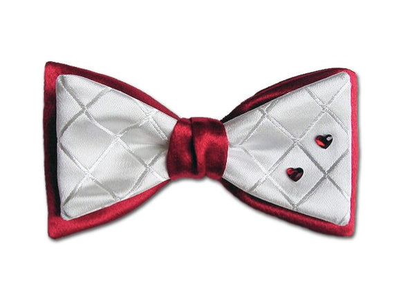Red and white bow tie with red Swarovski hearts. Silk men's bow tie.