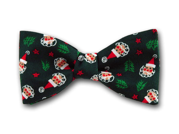 Santa on Green Bow Tie. Christmas Bow Tie. Holiday bow tie.
