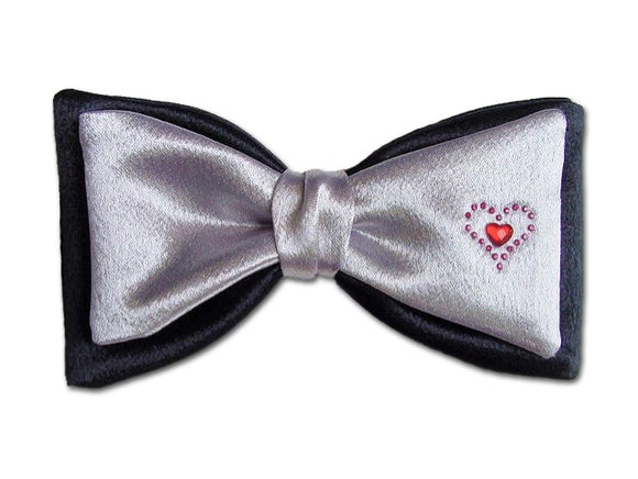 Romantic Bow Tie Black and Grey with Two Hearts for Men.