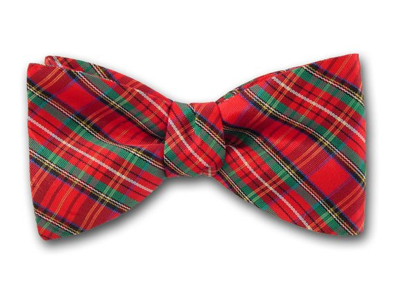 Red, Green, Navy and Gold Plaid. Tartan Men's Bow Tie.