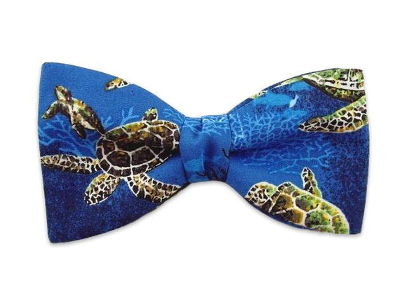 Turtle bow tie. Novelty Blue Bow Tie. Themed blue bow ties.