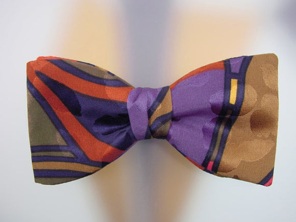 Burnt orange, purple, olive green, black, tobacco colors. Hand Painted Bow Tie for Men.